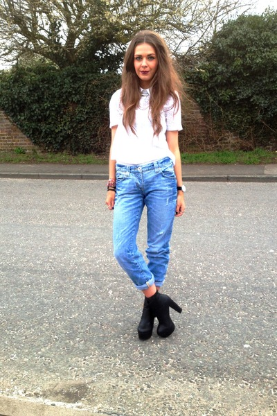white white Topshop shirt - black Schuh boots - navy River Island jeans