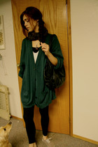 forest green sweater - black leggings - tan shoes