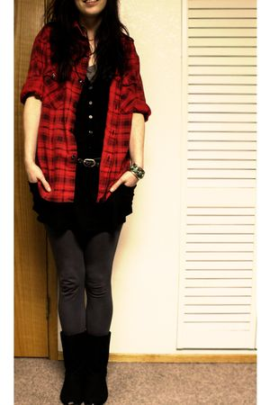 red vintage shirt - black Urban Outfitters boots - gray Forever21 leggings - bla