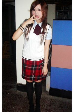 white blouse - red skirt - black socks - black shoes