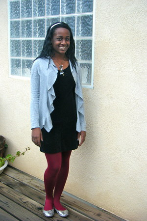 heather gray Forever 21 cardigan - black dress - Target tights - Target