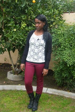black Forever 21 cardigan - ivory Charlotte Russe - Forever 21 pants - black GoJ