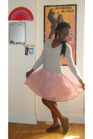 gray sweater - pink Forever 21 dress - black Target