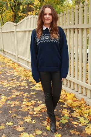 black leather Cubus pants - navy wool thrifted sweater - white Cubus top
