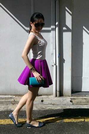 magenta younghungryfree skirt - aquamarine kate spade bag - navy Melissa flats