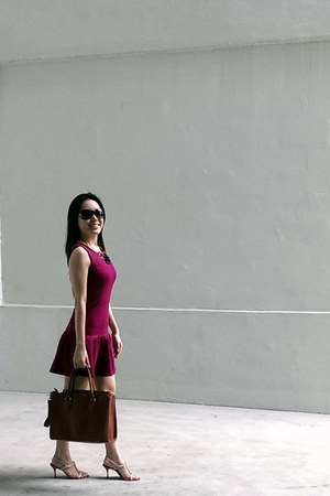 red shoplabellavita dress - brown Love Bonito bag - salmon Charles & Keith heels