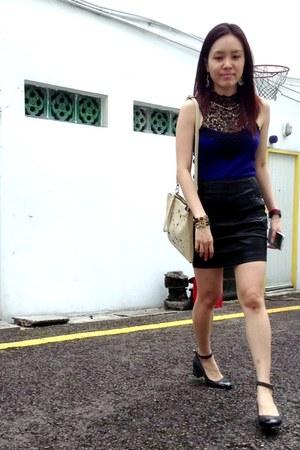 navy Love Bonito top - dark gray Love Bonito skirt - asos pumps