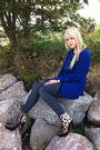 Blue-thrifted-blazer-love-label-leggings-runway-next-boots