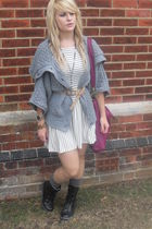 gray Love Label jumper - black boots - Topshop dress - beige Primark belt - purp