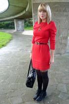 red thrifted dress - black Primark boots - black Pamela Man tights