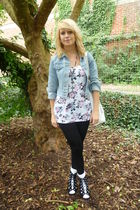 white H&M top - blue random jacket - black Matalan shoes