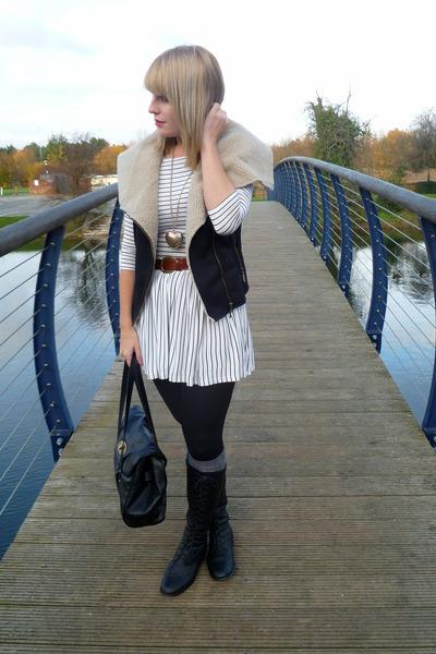 black Primark jacket - white Topshop dress - black Forever 21 boots