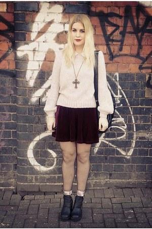 maroon velvet skater Topshop skirt - black H&M boots - H&M jumper