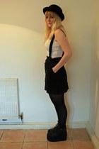 black flatform Office boots - black vintage hat - white asos top
