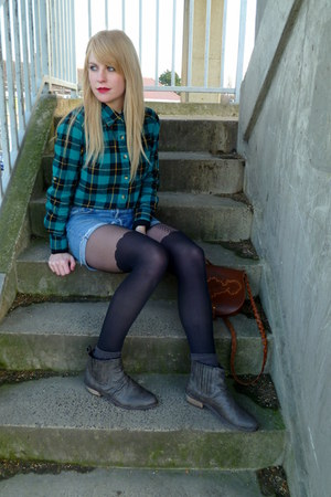 brown chelsea LinziShoes boots - turquoise blue plaid Peacocks shirt - black Pam