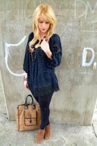 leopard print bag - black lace thrifted top - black striped vest - tawny wedges
