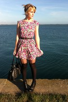 hot pink floral thrifted dress - black suspender Pamala Mann tights - black boot