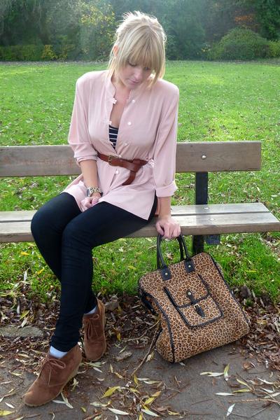 brown wedges select shoes - black jeggings Primark jeans - camel H&M jacket