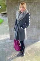 Linzi shoes boots - heather gray vintage coat - Old Navy bag - warehouse blouse