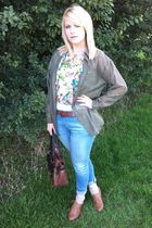 brown Primark shoes - new look jeans - Topshop top - green H&M shirt - brown vin