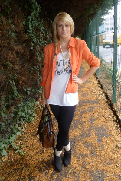 orange thrifted blazer - white Topshop top - black Matalan boots