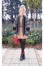 Camel-h-m-dress-black-vintage-cardigan