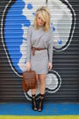 Gray-mango-dress-brown-vintage-bag-black-matalan-shoes-black-love-label-so