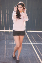 light pink Forever21 sweater - black H&M shorts
