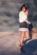 black Forever21 skirt - light pink Forever21 blouse