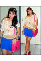 mustard sheer top - ivory lace top - hot pink messenger bag - blue pleated skirt