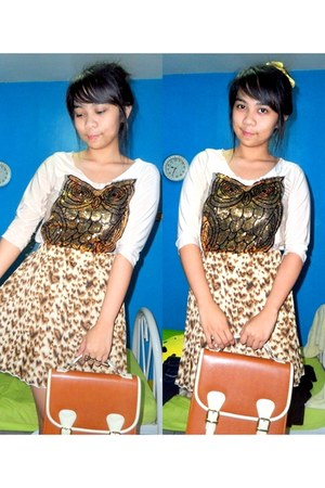 brown leopard print skirt - burnt orange satchel bag - neutral owl sequins top