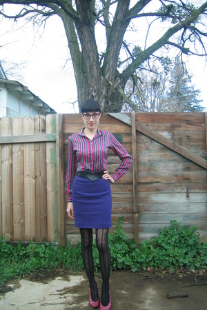 pink thrifted shirt - purple thrifted skirt - pink thrifted shoes