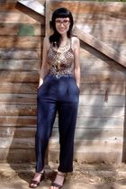 black vintage pants - gold vintage necklace