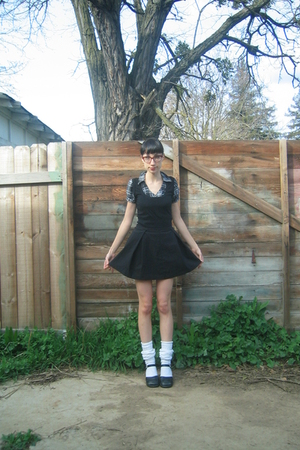 black Sprit skirt - white Sock Dreams socks - black thrifted shirt