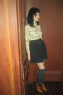 Black-urban-outfitters-skirt-brown-ann-taylor-shoes-yellow-vintage-shirt-v