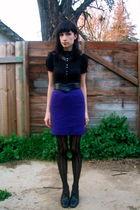 purple bows and arrows vintage skirt - black crimson and clover vintage blouse -