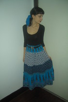 blue Thrift Store skirt - black Thrift Store shirt - black Thrift Store belt - b