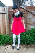 red thrifted dress - black Target shoes - green vintage scarf