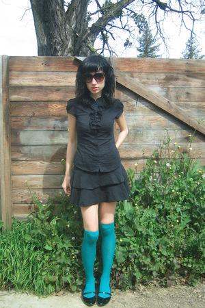 black thrifted blouse - black thrifted skirt
