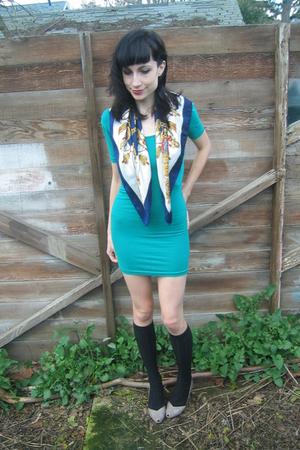 blue vintage shirt - gray vintage shoes - green American Apparel dress - black R