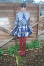 blue vintage dress - black Target shoes - red tights