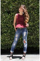 Zara jeans - Topshop top - Zara heels