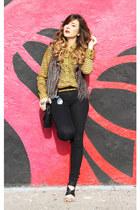 BCBGeneration top - Zara jeans - Forever 21 vest - Zara sandals