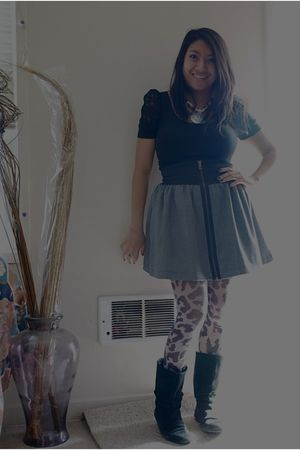 gray Metropark skirt - asos tights - black shoe pavillion boots - black H&M top