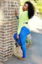 leopard print Marta Ponti bag - blue jeans Cobalt blue Jeans jeans