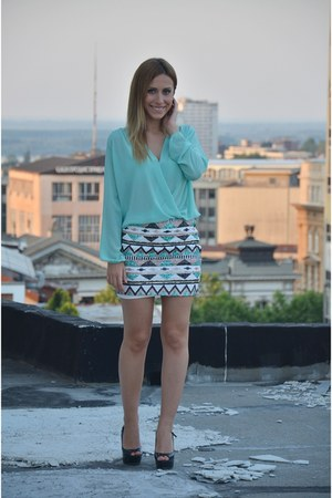 white Aftershock London skirt - aquamarine Aftershock London blouse