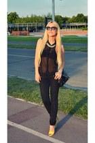 black Bershka jeans - black new look shirt - black OASAP bag