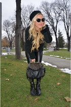 black H&M boots - Shearling jacket - black Forever 21 sweater