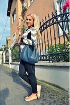 blue Bottega Veneta bag - black Pinko blazer - cream OASAP flats