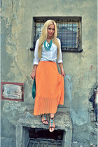Orange maxi pleated skirt